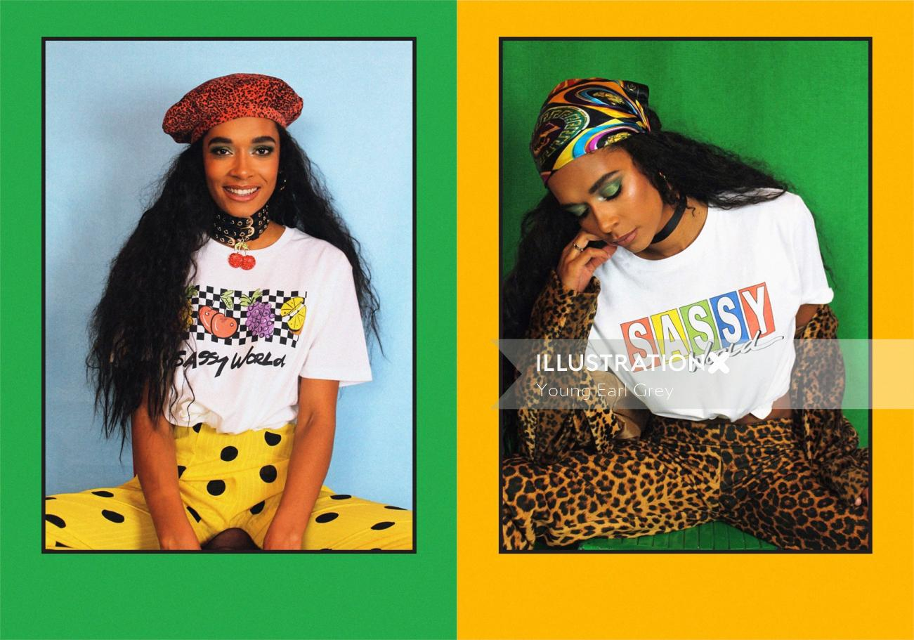 Model Wearing Sassy World T-Shirts