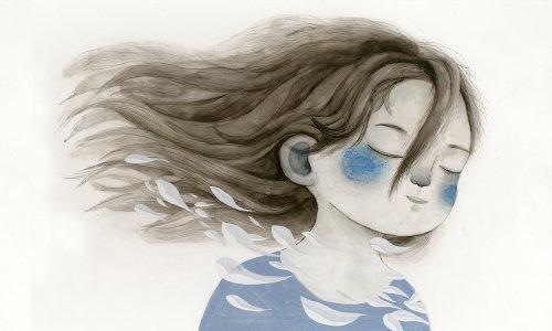Watercolor portrait of child