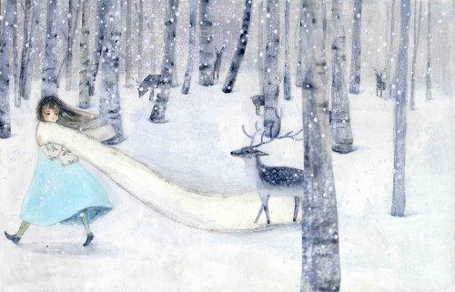 Snow deer watercolor painting