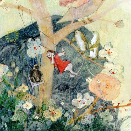 Children Book illustration of children playing on tree