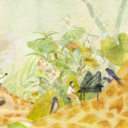 watercolor painting of playing musical instruments