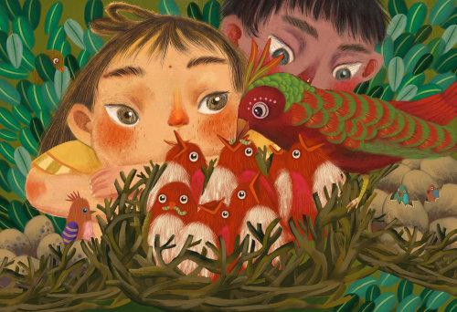 Illustration of Children watching a beautiful bird feeding her kids