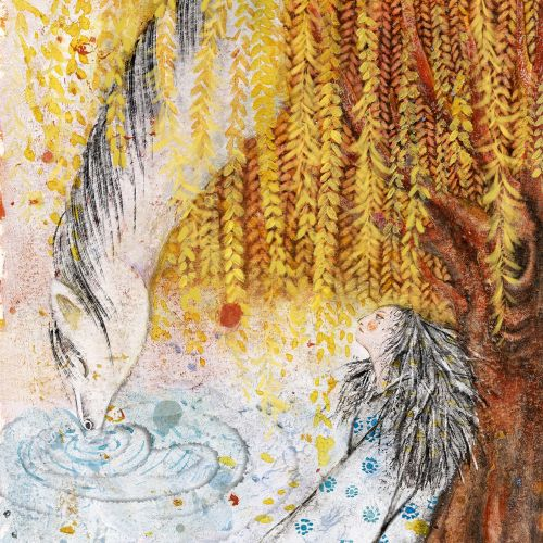 Watercolor painting of drinking water in lakes