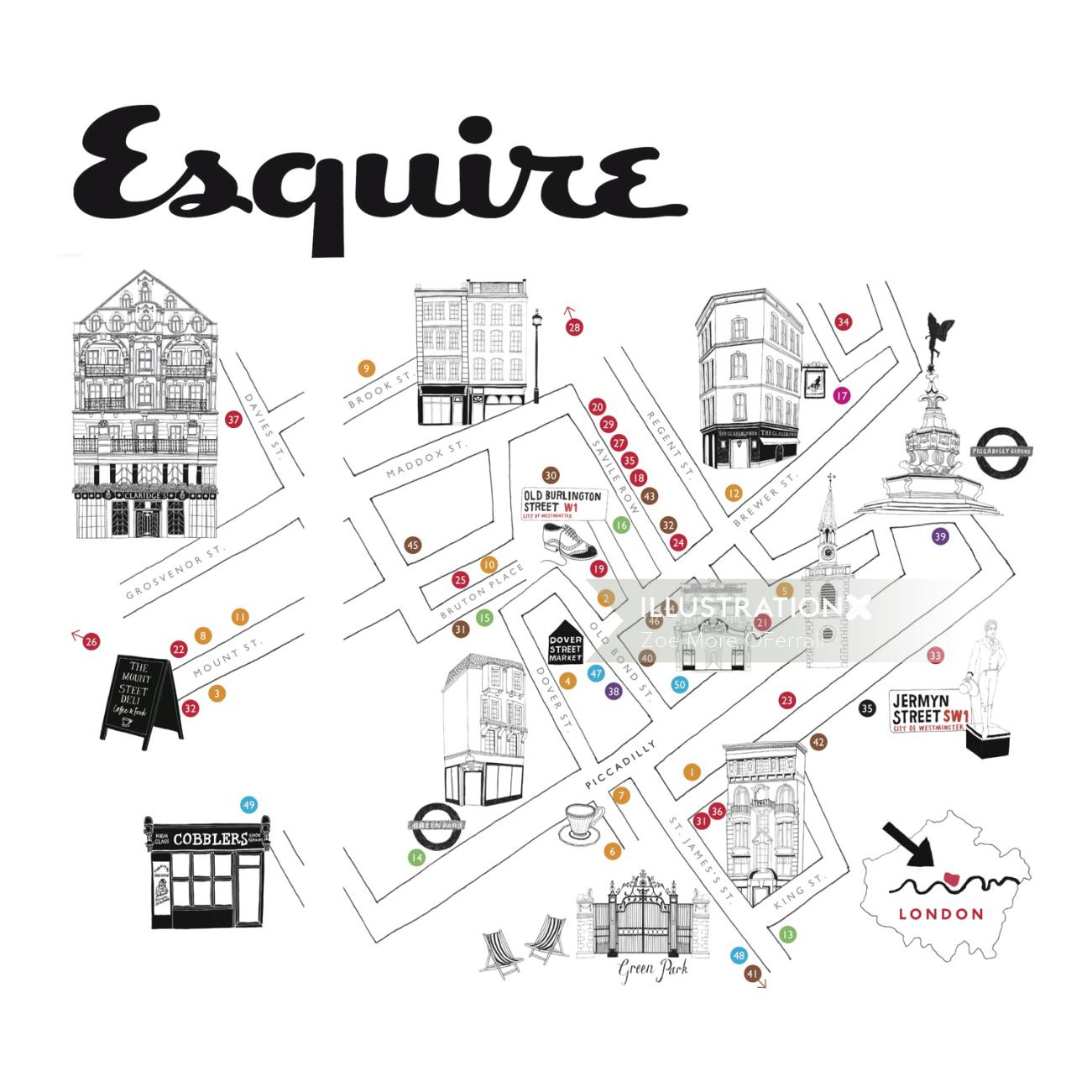 Esquire Map illustration by Zoe more Oferrall