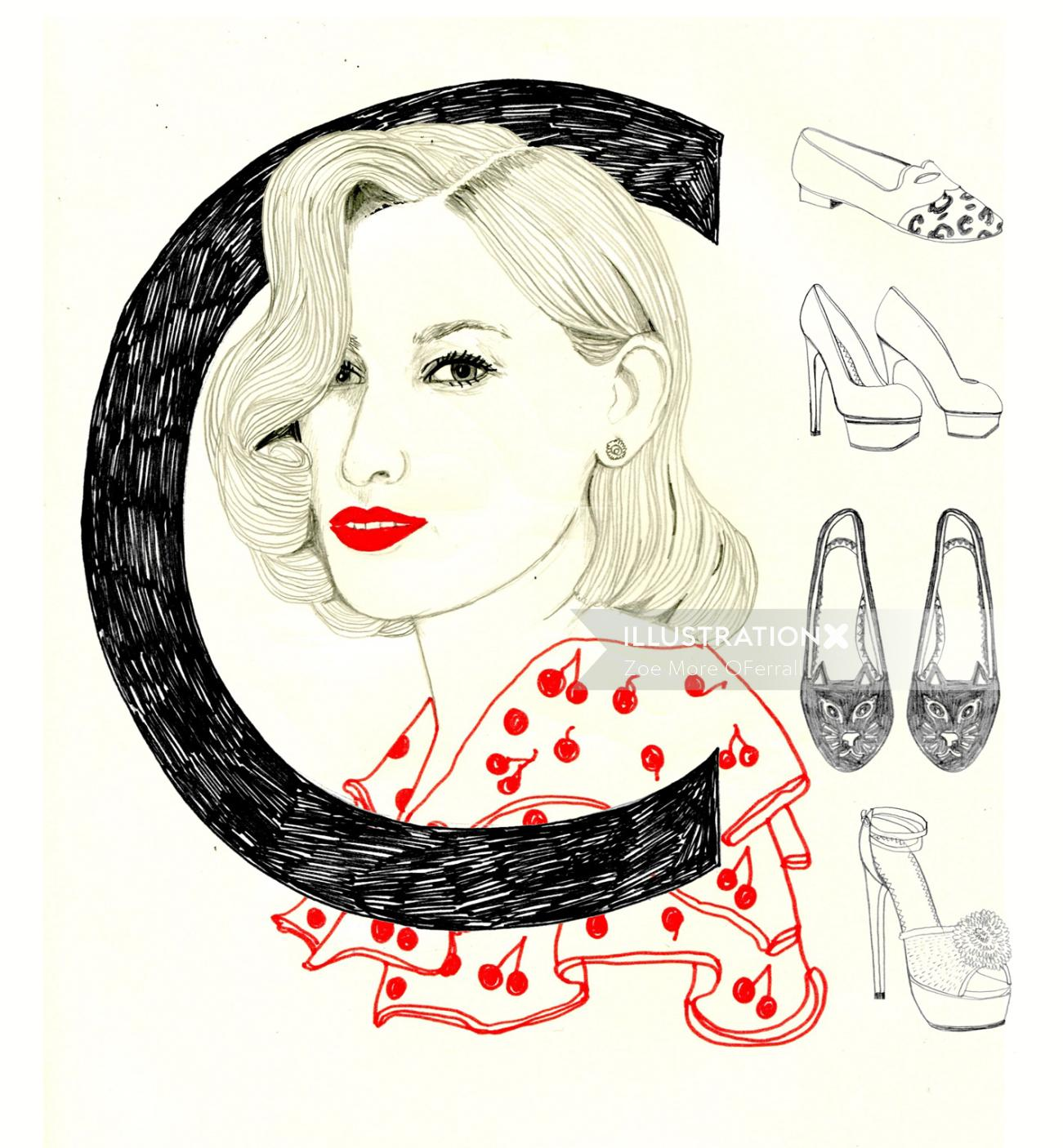 Portrait of women and shoes