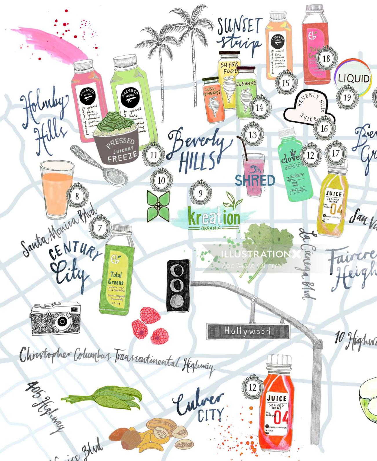 Hollywood map with juices