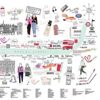 London map illustration for Vogue lovers