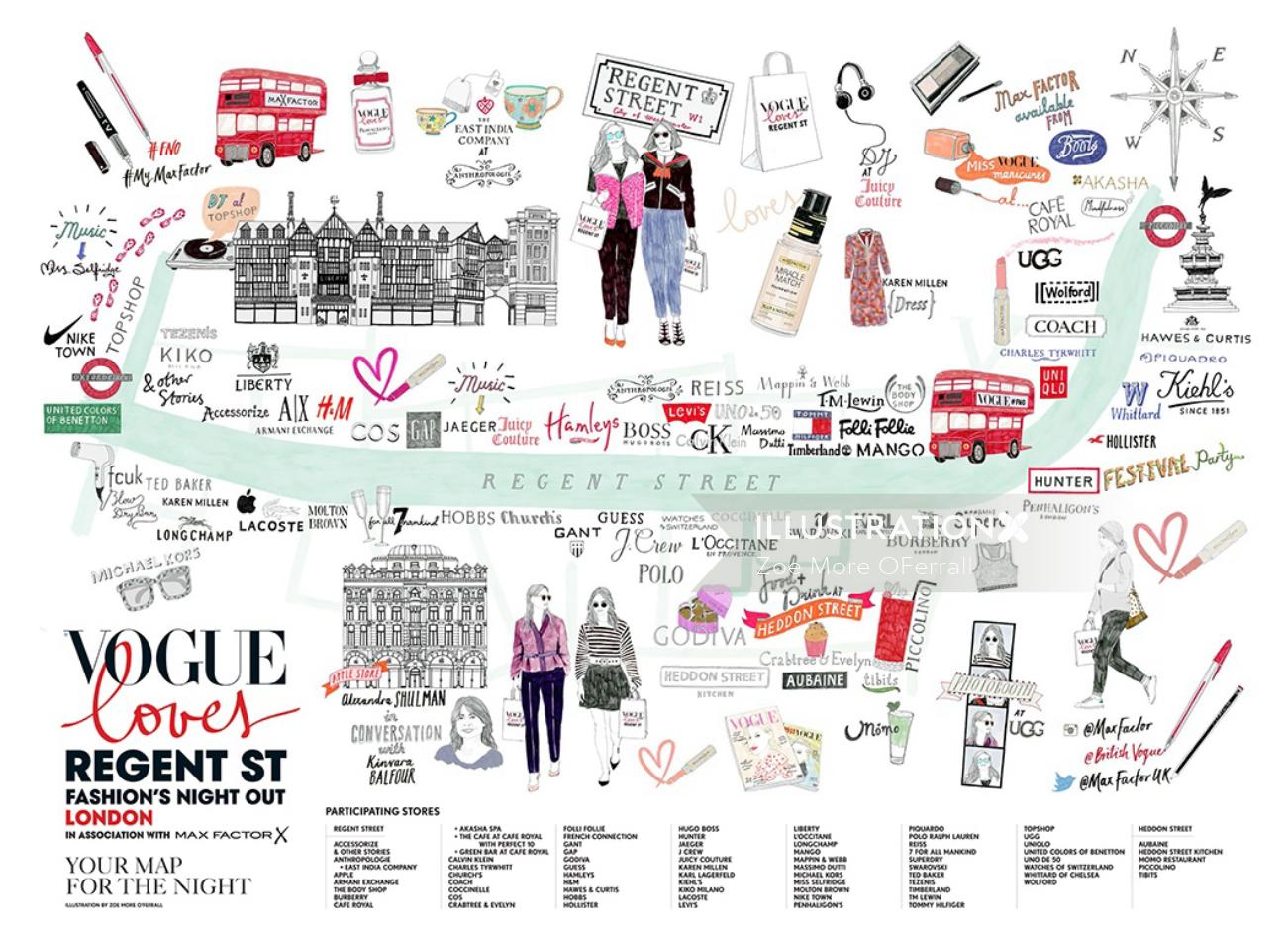 London map illustration for Vogue lovers