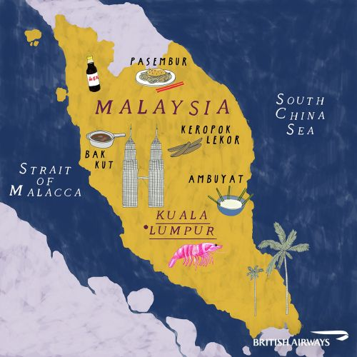 Map illustration of Malaysia by Zoe More OFerrall