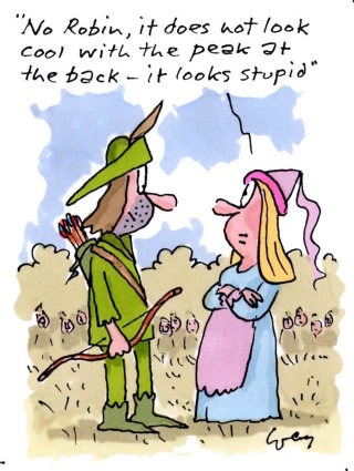 Robin hood with maid marion - Cartoon illustration by Gray Jolliffe