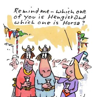 Cartoon Character of Hengist And Horsa