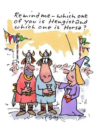 Cartoon Character of Hengist And Horsa