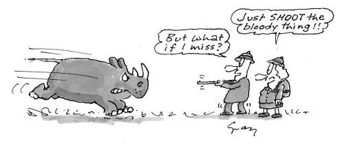 Cartoon rhinocerous illustration by Gray Jolliffe