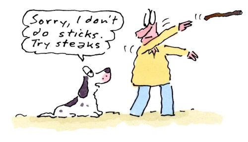 Homme de dessin animé avec chien de compagnie