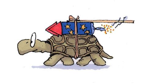 Oeuvre amusante d'une tortue