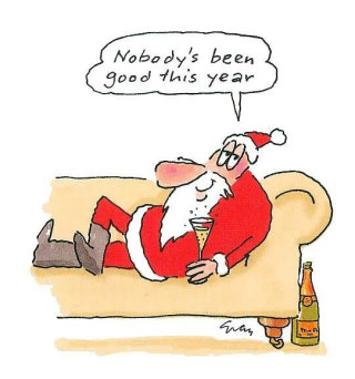 An illustration of santa claus drinking alcohol