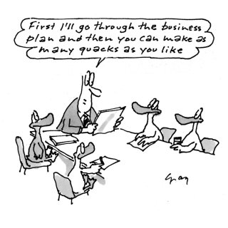 Ducks in a meeting, Comic illustration by Gray Jolliffe