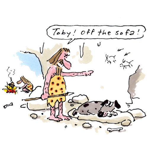 Art comique des hommes des cavernes avec chien