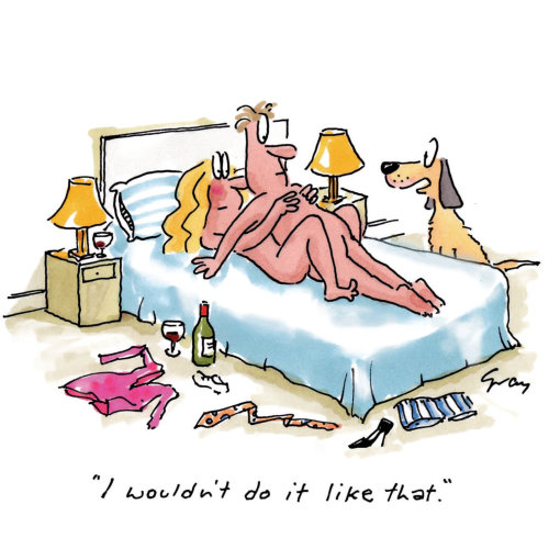 Illustration comique de conseils sexuels d'un chien