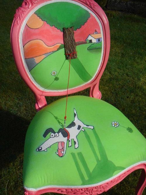Comic art of Gray Jolliffe customized chair