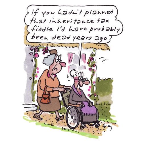 Cartoon Illustration d'une femme âgée dans un fauteuil roulant par Gray Jolliffe