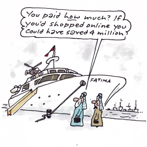 Comic Illustration of Arabs Looking at Yacht Boat