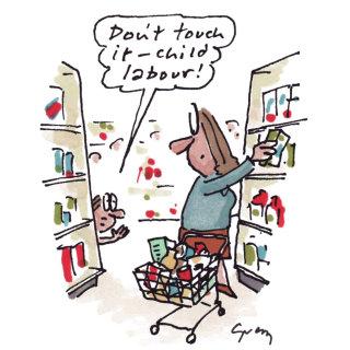 Cartoon Illustration of girl in a supermarket by Gray Jolliffe
