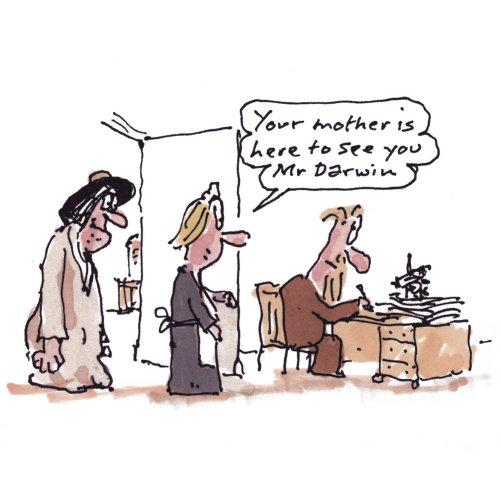 Illustration comique de Charles Darwin à son bureau