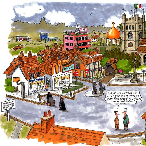 Cartoon Illustration of Hambleden town centre