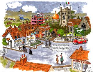 Cartoon Illustration of Hambleden town centre