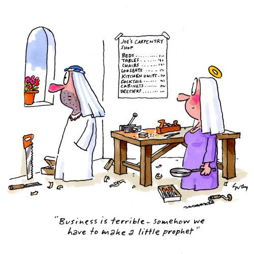 Caricature de Marie et Joseph - Une illustration de Gray Jolliffe