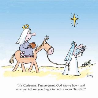 Mary Joseph and donkey - An illustration by Gray Jolliffe