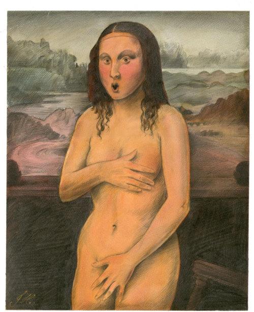 Ilustração humorística de Monalisa