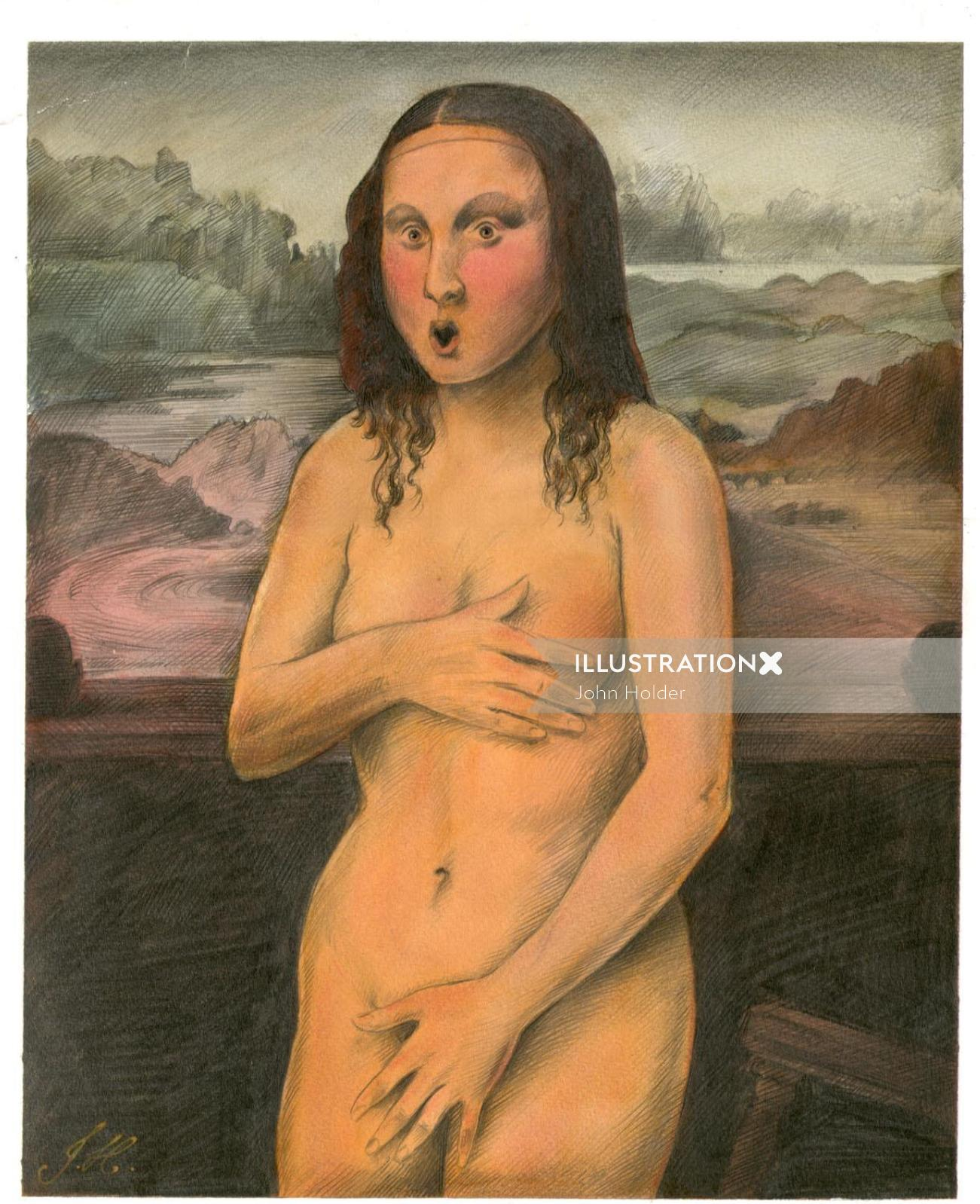 Humorous illustration of Monalisa