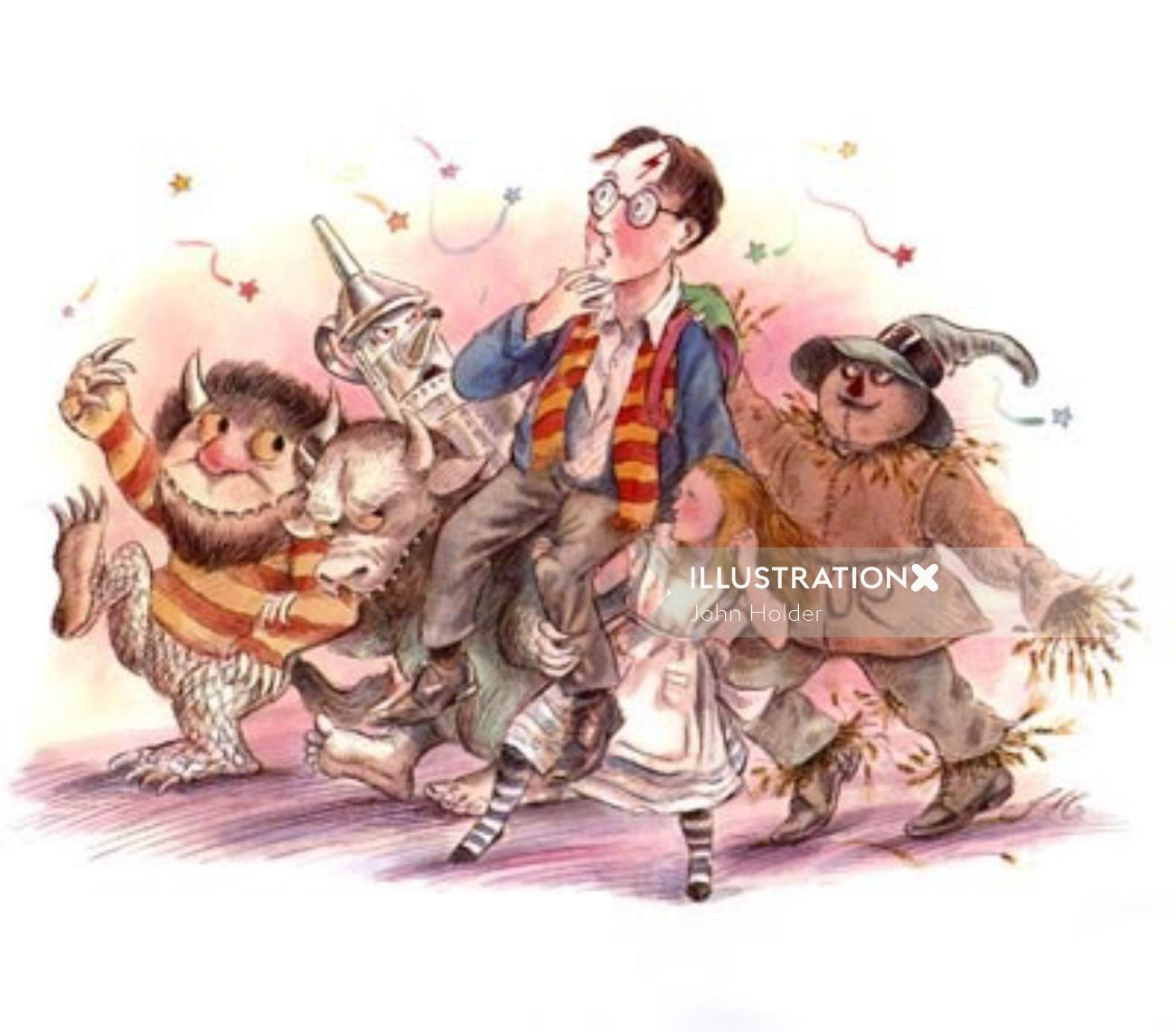 Cartoon illustration for children's book