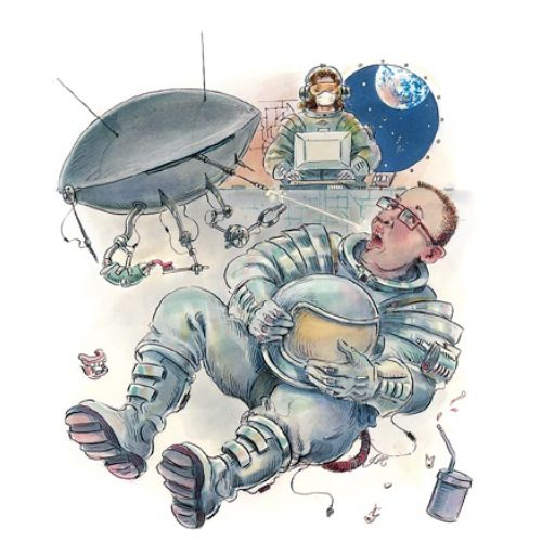 Cartoon illustration of dish antenna