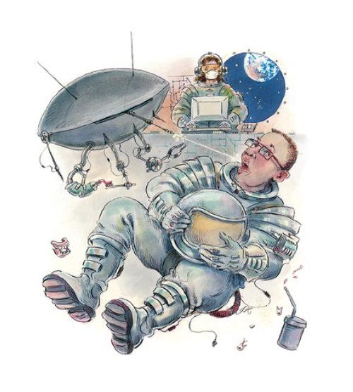 Cartoon illustration of dish antenna