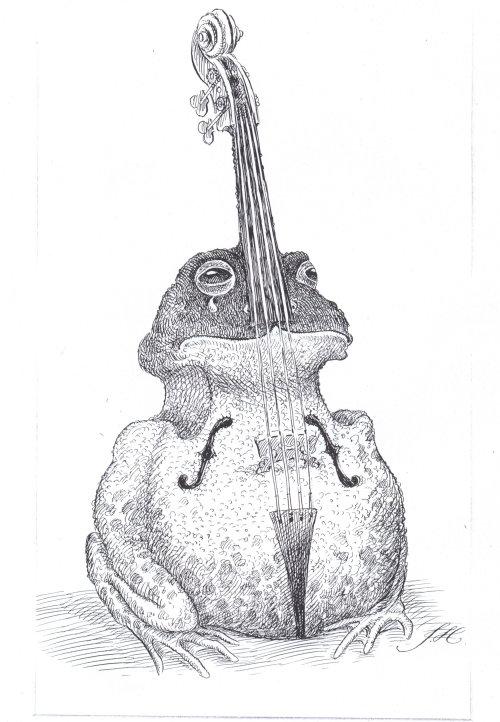 Veteran pen art of a frog in violin shape