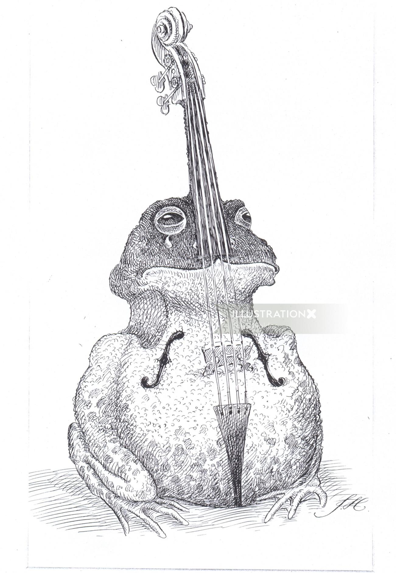 Veteran pen art of a frog in violin shape