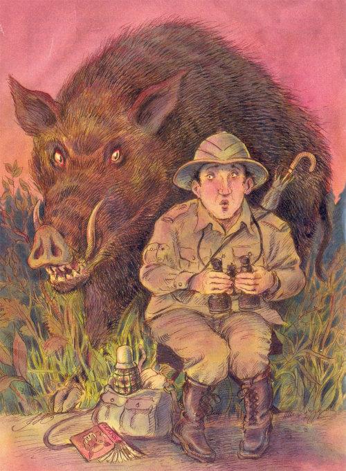 Cartoon illustration of forest hunter