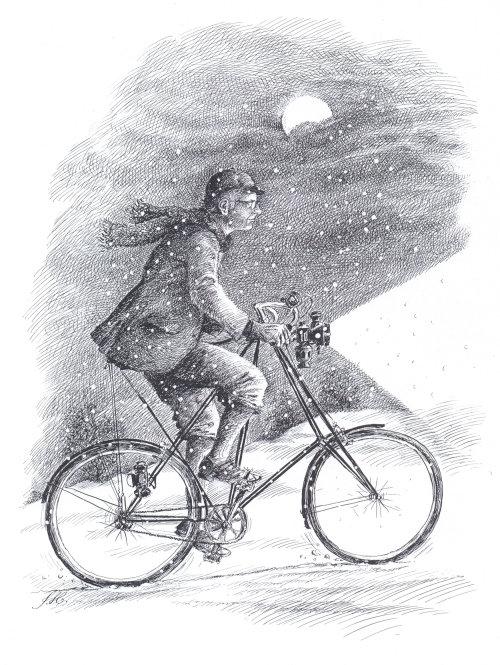 Caneta clássica desenho de um homem andando de bicicleta