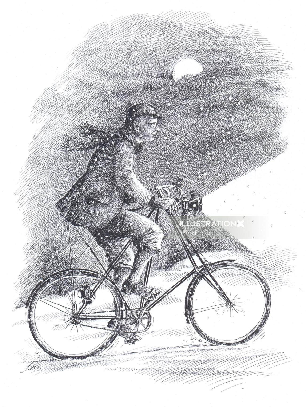 Classic pen drawing of a man riding bicycle