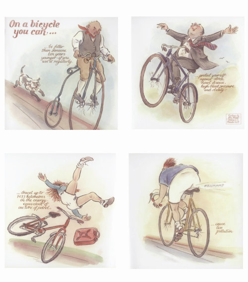 Storyboard illustration of man on a bicycle