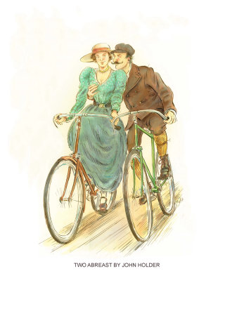 Couple on bicycle in romance by John Holder