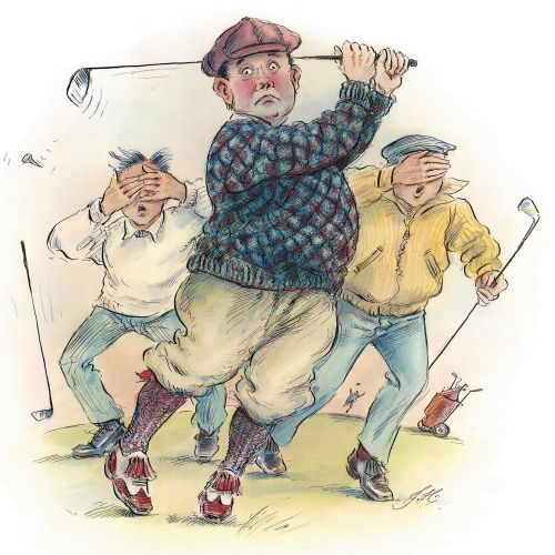 Character design of men playing golf