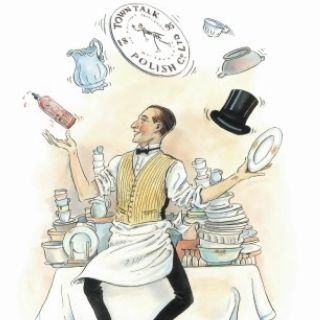 Cook playing with cap and clock illustration