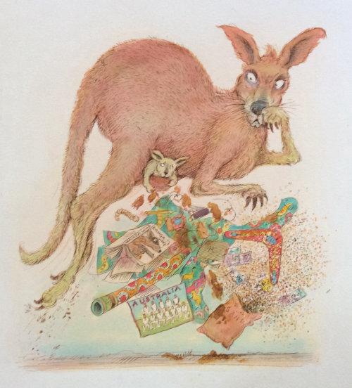 Kangaroo watercolor painting