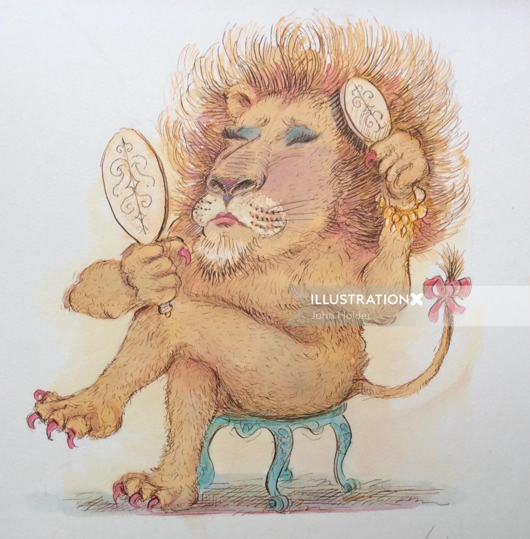 Comic lion illustration