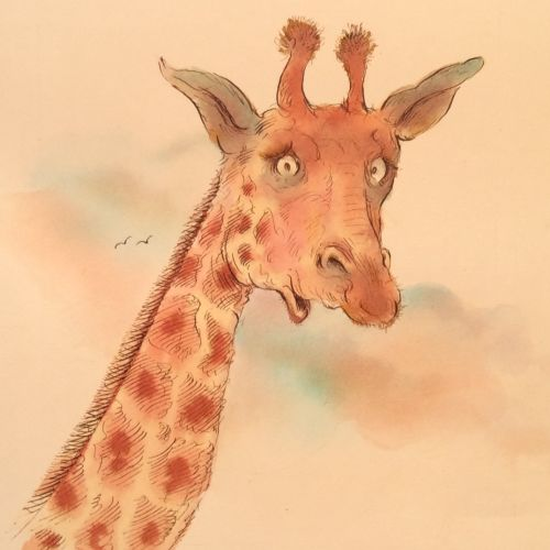 Watercolor paintng of giraffe