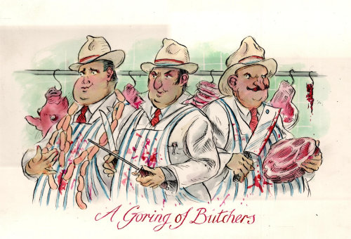 Watercolor drawing of A Goring of Butchers